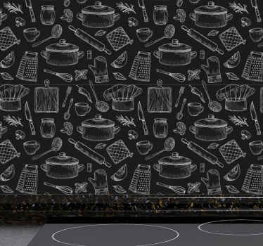 A decorative elegant wallpaper with it design created in solid black background and hosting different kitchen cooking utensils and cutleries.