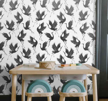 Vinyl wallpaper with the illustration of minimalistic cranes in neutral colors that will fill with elegance and a classic touch the walls of home.