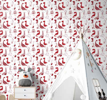 Kids wallpaper with the illustration of red dinosaurs and sketches for you to renew the environment with the walls of your baby's room.