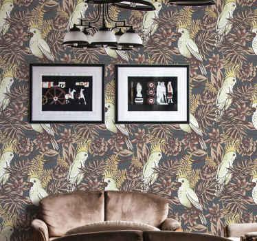 Le papier peint animal avec un sticker de nombreux oiseaux entourés de feuilles de forêt aux couleurs et aux fleurs d'automne,