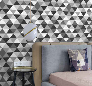 Grey geometric triangle patterned wallpaper for your wall decoration. t is easy to apply, proof to wrinkle and bubble effect and it does not fade.