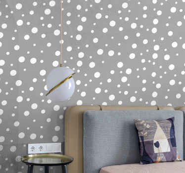 Spotty dots on grey background wallpaper to bring a transforming look on your space.  Durable and have resistance to wrinkle and extreme conditions.
