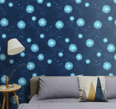 Light blue flowers on dark blue wallpaper  for home and office decoration. It application is really easy and it is durable.