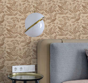 Birds on tree branches beige wallpaper - If you are looking to install a vintage touch on a space this lovely luxury wallpaper roll would be perfect.