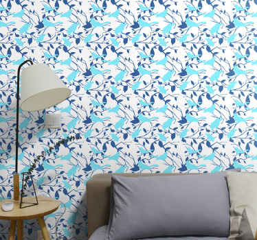 Light blue birds on tree branches wallpaper from our nature theme wallpaper designs.  Mande of quality material, wrinkle proof and durable.