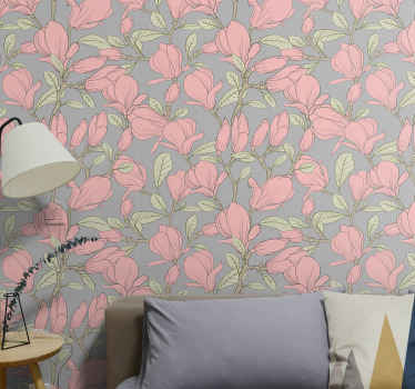 A decorative flower wallpaper to install a nature touch in coloueful impression on a space. Suitable bedroom wallpaper for kids and other spaces.