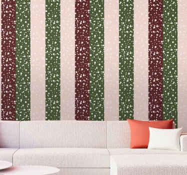 Un papel pared rayas rojas y verdes con diseño de ilustración de nieve. Fantástico para dar un toque original a tus paredes ¡Envío exprés!