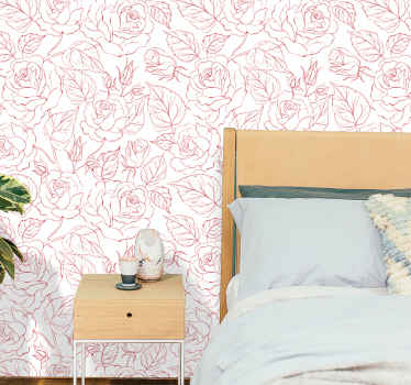 Red wallpaper with an illustration of the silhouette of many roses on a white background, ideal for decorating the walls of your bedroom, etc.
