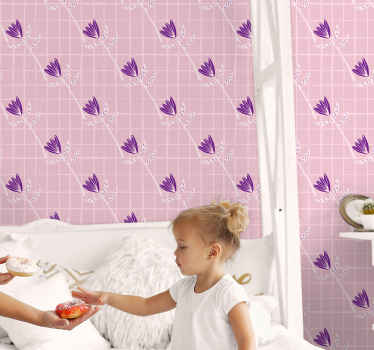 Kids wallpaper with the design of many beautiful purple flowers with a pink background and squares that give a super original touch to the design.
