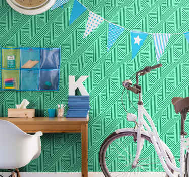 Teen wallpaper with the green stripes and patterns design, ideal for decorating the walls of a youth bedroom, a living room or any other room.