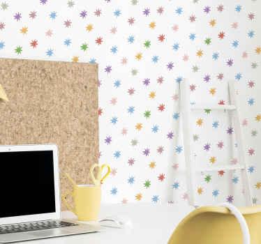 ¡Todos tus amigos y familiares estarán tan celosos de tu papel pintado de estrellas coloridas! Ideal para cualquier estancia ¡Elige tus rollos!