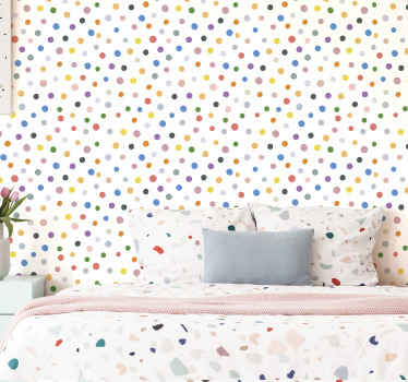Wallpaper with many colorful dots on a white background, ideal for you to fill with joy and fun the atmosphere of your children's room
