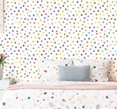 Papel pintado círculos con muchos lunares de colores sobre fondo blanco, ideal para que llenes de alegría y diversión tu casa ¡Envío exprés!