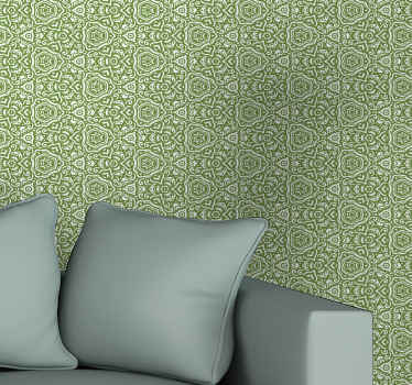Vintage wallpaper with the illustration of green ornamental designs on a white background in vintage style that would look fantastic on the walls.