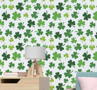 Vinyl wallpaper with the illustration of Shades of green clover ideal for you to decorate the walls of your living room or any other room in your home