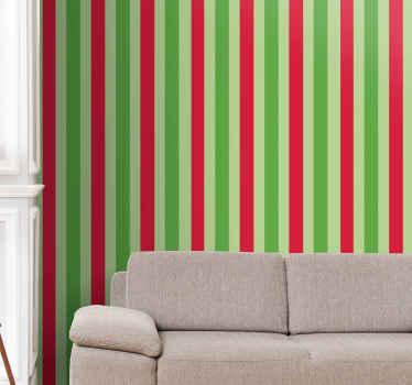 Papel pintado a rayas verdes y rojas. Obtenga este increíble diseño para sus paredes. Compra ahora online! Fácil de aplicar! Entrega a domicilio!