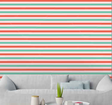 Red and green horizontal stripes Xmas Wallpaper. Horizontal lines patterned design. Red and green colour lines. Give your walls a new look!