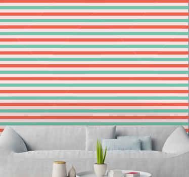 Papel pintado de navidad de rayas horizontales rojas y verdes. Diseño estampado de líneas horizontales. Líneas de color rojo y verde.