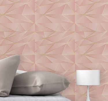 Wallpaper with geometric design for the bedroom. Softly coloured pink triangle patterns with light swados. Dress your walls for fame.