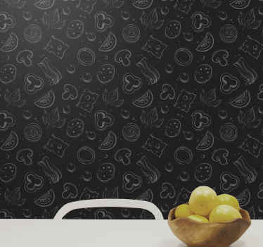 Pizza ingredient black Wallpaper for kitchen. Solid black background with white pizza ingredients on top. get it with immediate shipping!