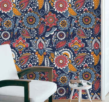 Ethnic blue pattern rustic wallpaper to make your home space stand exceptional. This would be lovely for any room in a house.