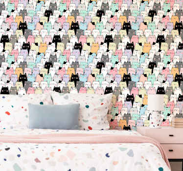 Lovely animal print wallpaper from our collection of cat illustration wallpaper. This is perfect for bedroom decoration.