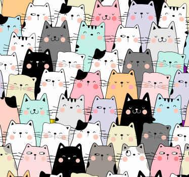猫のイラストの壁紙のコレクションから素敵なアニマルプリントの壁紙。これは寝室の装飾に最適です。