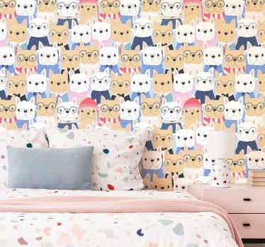 Papel de parede de animais de filhotes de cão fofos para decorar o espaço das crianças. Decoração de papel de parede divertida e interessante para crianças. Fácil de instalar na parede.