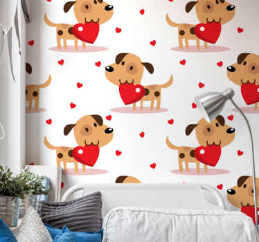 Cute puppy animal wallpaper for children bedroom decoration. Your kid would be happy to have this wallpaper on the bedroom or playroom space.