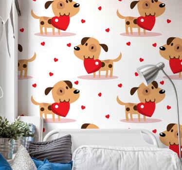 子供の寝室の装飾のためのかわいい子犬の動物の壁紙。あなたの子供は寝室やプレイルームのスペースにこの壁紙を持っていれば幸いです。