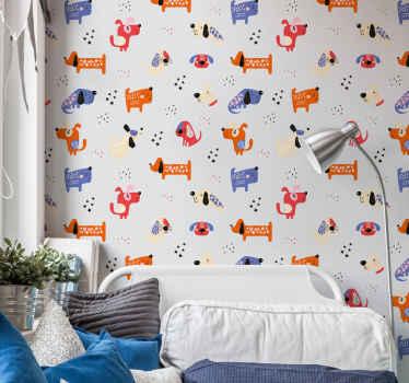 子供の寝室のためのイラスト入りの犬の動物の壁紙のプリント。それはまたあなたの選択の他の壁のスペースに適用することができ、それは適用するのは簡単です。