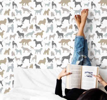 Dog breeds animal wallpaper - Customize any room in the home or other space with this high quality patterned wallpaper with animal prints.