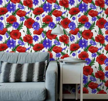 Papel pared flores de amapolas para que decores tu casa y la llenes de vida y colores. Producto lavable y fácil de colocar ¡Envío exprés!