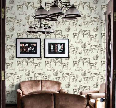 動物愛好家のためのレトロな動物の動物の壁紙。壁紙は、ヴィンテージのテクスチャと背景のさまざまな動物のさまざまなプリントで紹介されています