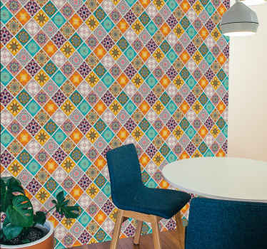 Change the face of your space with our quality Boho squares tile patterned wallpaper and you would be glad you did. It is waterproof and rumple proof.