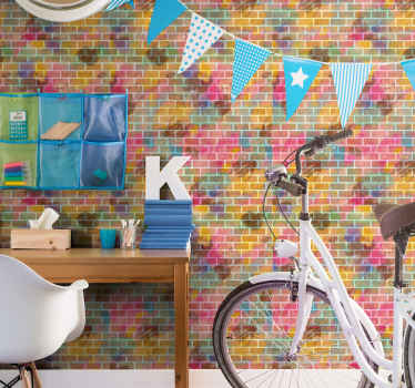 Colorful brick wall Brick wallpaper - This can be applied on any room in a house, for an office space, shop, etc.  It is made of quality.