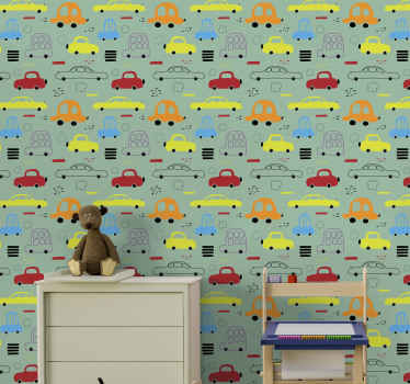 All of your friends and family will be so jealous of your brand new piece of decor with this unique colorful vehicles wallpaper product! Order now!