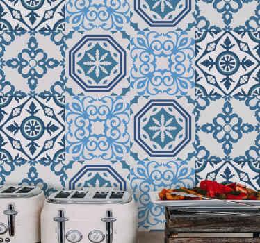 寝室スペース、リビングルーム、ダイニング、バスルーム、そしてあなたの望みの別のスペースのための装飾的な青いタイルのビニールの壁紙。