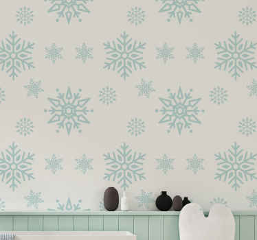Large snowflakes patterned Christmas wallpaper with white background to decorate a space for Christmas festivity. Highly durable and waterproof.