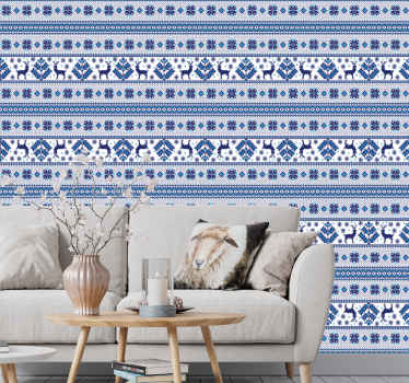 Folk pattern Christmas wallpaper in blue and white colour for your home decoration for Christmas and other seasons. Made with top quality material.