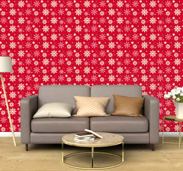 Red background Christmas wallpaper with snowflakes design. The product is really easy and simple to install, it is original and durable.