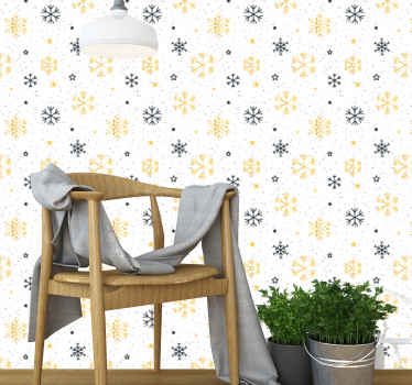 A Christmas wallpaper with snow flakes illustration design. This lovely wallpaper would install an amazing look and presence of Christmas on a space.