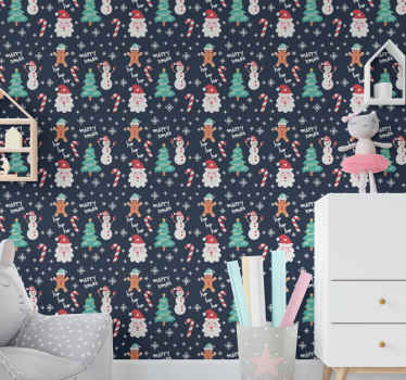 Christmas figures wallpaper for children -  It is  featured with deign of snowman, Santa Claus, fir tree and Christmas candy illustrations.