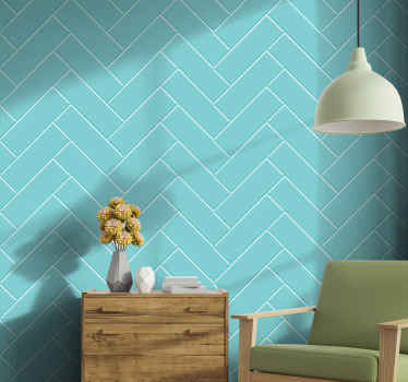 A teal diagonal tile wallpaper - Lovely and suitable to customize any room in a house and it installation is really easy.