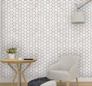 Papier peint carreaux de marbre hexagonaux - parfait pour n'importe quelle pièce d'une maison et pour la décoration murale d'un espace extérieur.