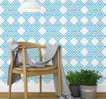 Blue squares within square tile wallpaper - Give your space a fresh breath of air with our high quality wallpaper with patterned geometries.