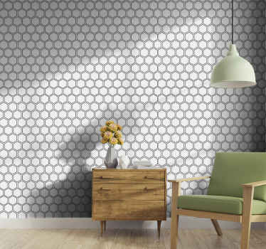 あなたの家の装飾のための基本的な六角形のタイルの壁紙、これはオフィスの壁のスペースにも適用することができ、それは簡単に適用できます。