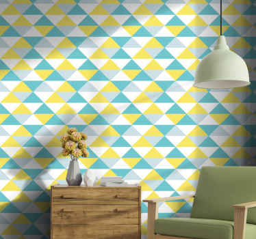 Yellow and blue geometric tile wallpaper for your home and office space. This wallpaper pattern with geometric figured would give an outstanding look.