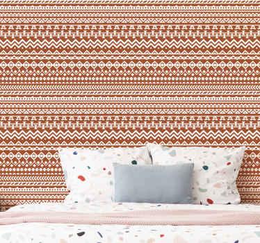 Papel pared rayas verticales tribales de África: patrón de rayas de color marrón y naranja. Elige tus unidades ¡Envío exprés!