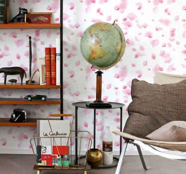 Papier peint de salon avec l'illustration de pétales roses avec lesquels vous pouvez donner une nouvelle atmosphère à votre maison .